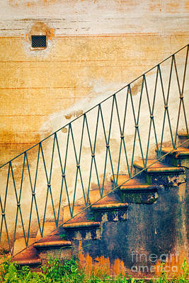 Photograph - Weathered Stairs And Wall by Silvia Ganora