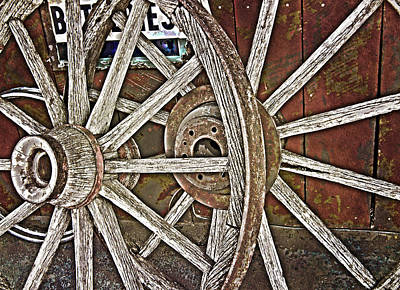 Digital Art - Weathered Wagon Wheel by Judy Hall-Folde