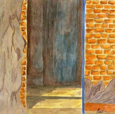 Weathered Wall With Doorway Art Print by Bav Patel