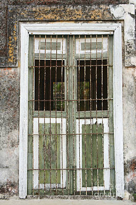Photograph - Weathers Shutters Yaxcopoil Mexico by John  Mitchell