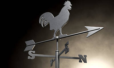 Weathervane Digital Art - Weathervane Cockerel Isolated by Allan Swart