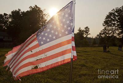 Weatherworn American Flag Art Print by Jonathan Welch