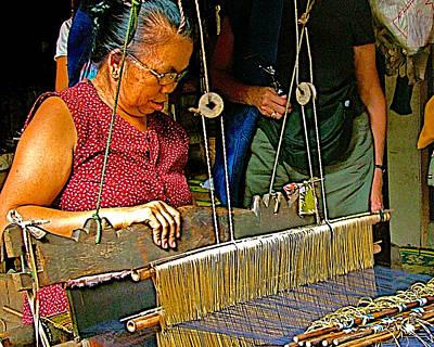 Loom Digital Art - Weaver At Her Loom In Tachilek-burma by Ruth Hager