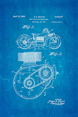 1943 Photograph - Weaver Indian Motorcycle Shaft Drive Patent Art 1943 Blueprint by Ian Monk