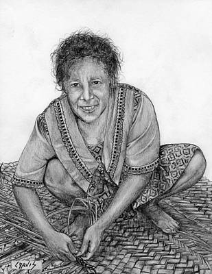 Art Print featuring the drawing Weaving A Mat 2 by Lew Davis