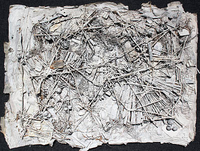 Sculptural Collage Painting - Web Collage 2 With Teabag by Hari Thomas