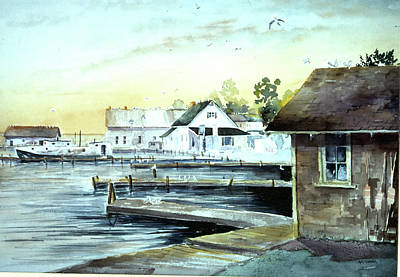 Bouys Painting - Weborg's Dock by Ken Marsden