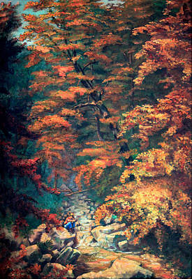 Fishing In Stream Painting - Webster's Falls by Hanne Lore Koehler