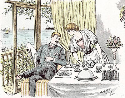 Teapot Drawing - Wedding Anouncement In 1892 At The British Seaside Love by Maurice Charles Mathieu Bonvoisin (named Maurice Charles Mathieu Bonvoisin (named Mars), (1849-1912), Belgian), (1849-1912), Belgian