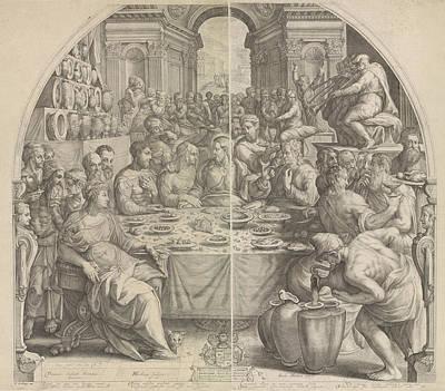 Wine Service Drawing - Wedding At Cana, Jacob Matham, Hendrick Goltzius by Jacob Matham And Hendrick Goltzius And Simon Sovius