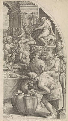 Water Jars Drawing - Wedding At Cana, Leaf Right, Print Maker Jacob Matham by Jacob Matham And Francesco Salviati And Simon Sovius