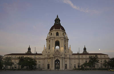 Photograph - Wedding At Moonrise - Pasadena City Hall California by Ram Vasudev
