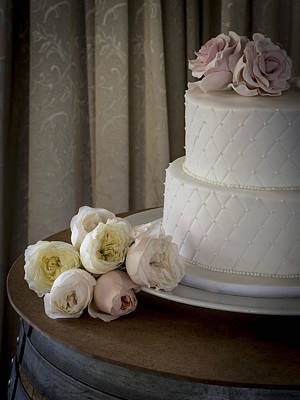 Justin Woodhouse Photograph - Wedding Cake Adorned With Roses by Kaleidoscopik Photography