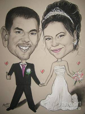Wedding Caricature Art Print by Anastasis  Anastasi