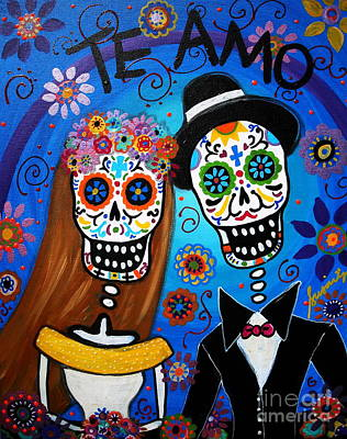 Mexican Town Painting - Wedding Couple  by Pristine Cartera Turkus