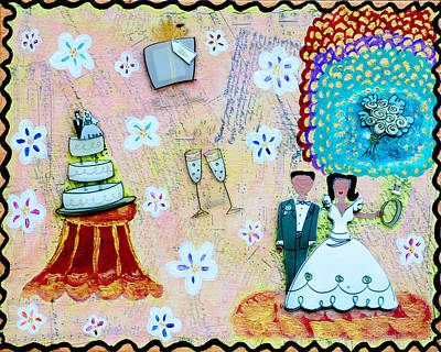 First Couple Mixed Media - Wedding Day by Jessica Marin-feliciano