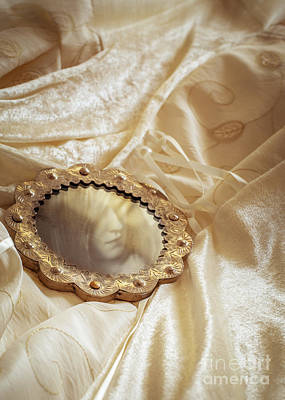 Lace Photograph - Wedding Dress And Mirror by Amanda Elwell