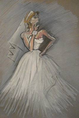 Drawing - Wedding Dress by Michelle Deyna-Hayward