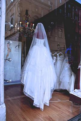 Photograph - Wedding Dress Window Display by Eric Tressler