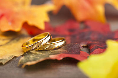Gold Leaf Ring Photograph - Wedding Engagement Ring by U Schade