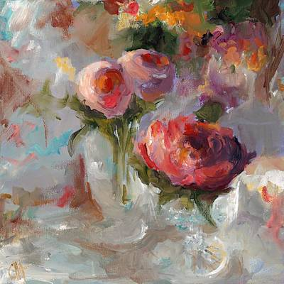 Impressionistic Still Life Painting - Wedding Flowers by Cari Humphry