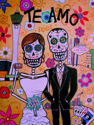 Wedding In Vegas Dia De Los Muertos Art Print by Pristine Cartera Turkus