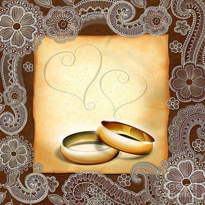 Anniversary Ring Digital Art - Wedding Memories V1a Classic by Bedros Awak