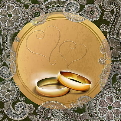 Anniversary Ring Digital Art - Wedding Memories V1b Classic by Bedros Awak