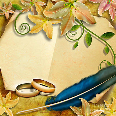 Anniversary Ring Digital Art - Wedding Memories V4 Natural by Bedros Awak