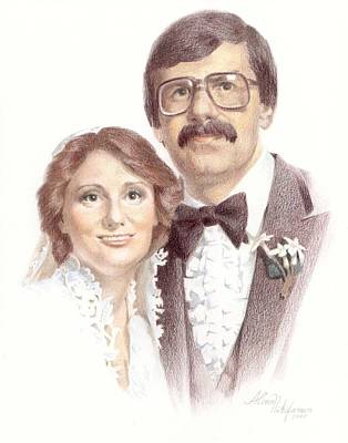 Drawing - Wedding Portrait. Commission. by Alena Nikifarava