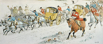 Wintry Drawing - Wedding Procession Returning From Church by Randolph Caldecott