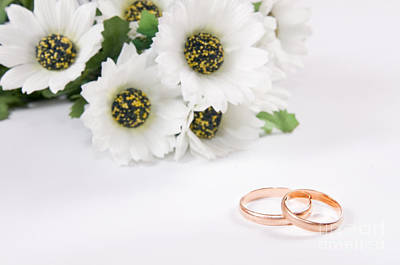 Gold Leaf Ring Photograph - Wedding Rings And Flowers by Michal Bednarek