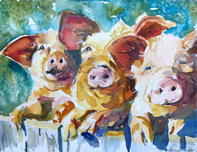 Wee 3 Pigs Art Print by P Maure Bausch