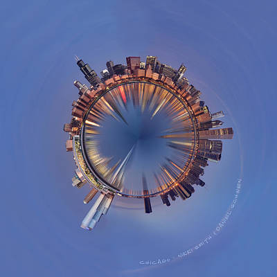 Chicago Skyline Photograph - Wee Chicago Sunrise Planet by Nikki Marie Smith