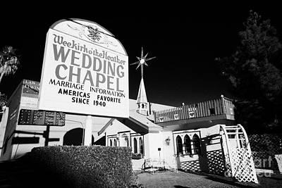 Las Vegas Wedding Photograph - wee kirk o the heather wedding chapel on the strip Las Vegas Nevada USA by Joe Fox