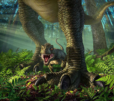 Prehistoric Digital Art - Wee Rex by Jerry LoFaro