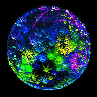 Weed Planet Full Of Cannabis Plants Art Print