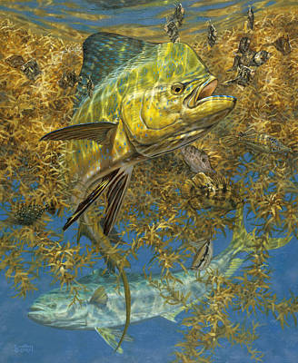 Salt Water Game Fish Painting - Weedline Buffet by Don  Ray