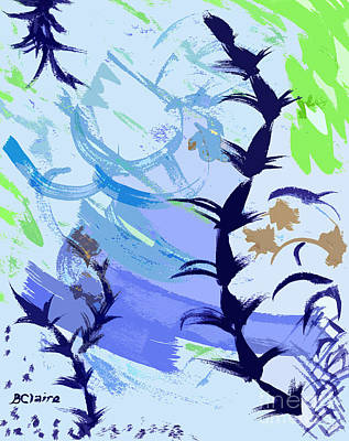 Digital Art - Weeds In Blue Plus Violet And Green by Beverly Claire Kaiya