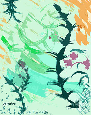 Digital Art - Weeds In Green Plus Orange And Pink by Beverly Claire Kaiya