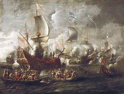 Weelcornelis De 17th C.. Naval Battle Art Print by Everett