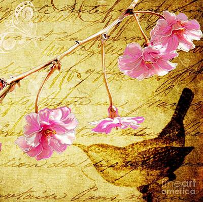 Cherry Blossoms Digital Art - Weeping Cherry Vintage II by Sharon Marcella Marston