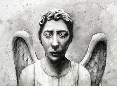 Watercolor Portraits Painting - Weeping Angel Don't Blink Doctor Who Fan Art by Olga Shvartsur