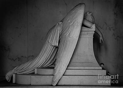 New Orleans Cemeteries Digital Art - Weeping Angel Statue  Bw 1 by Jerry Fornarotto