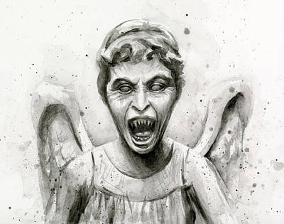 Doctor Painting - Weeping Angel Watercolor - Don't Blink by Olga Shvartsur