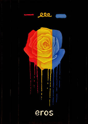 Weeping Drawing - Weeping Rainbow Rose by Darrell Ross