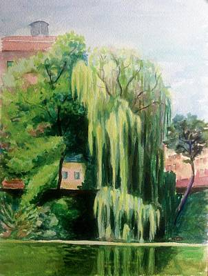 Painting - Weeping Willow At North Pond by Nicolas Bouteneff