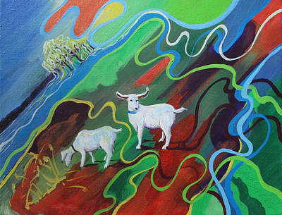 Painting - Weeping Willow Goat Landscape by Jeff Seaberg