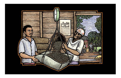 Puerto Rico Mixed Media - Weighing Coffee by Ricardo Levins Morales
