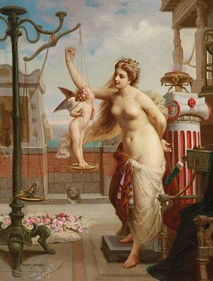 Weighing Cupid Art Print by Henri Pierre Picou